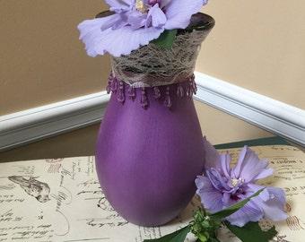 Purple Lace Vase,Chalk Paint,Lace