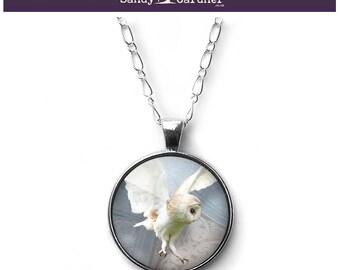 Barn owl four seasons necklace pendant