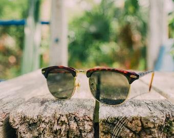 Vintage 1980s Pan Oceanic Tortoiseshell Clubmaster Style Sunglasses