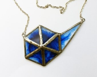 Blue stained glass necklace - 3D-Tiffany-pewter-glass-recycled-modern-steampunk-hipster