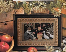Cross Stitch, Vintage Magazine, Country Stitch, Home Sampler, Welcome Sampler, Birth Sampler, Orchard Friends, Victorian Quilt Heart