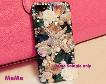 1 Set  Deco Kit Bling Alloy Starfish Gems Rhinestones Accessories Cabochon Deco Den on Craft Cell Phone Case DIY Deco kit DD3609