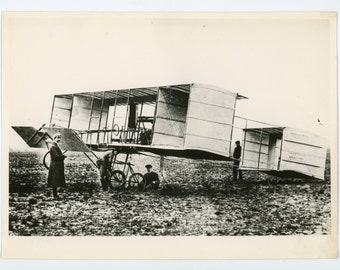 Voisin biplane - original vintage photo - early aviation- pilot and aircraft in the field- French aviation