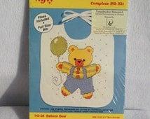 Bib Cross Stitch Kit, Bear Cross Stitch Kit, Baby Bib Cross Stitch Kit, Stamped Cross Stitch Kit, Balloon Cross Stitch Kit, Bear Embroidery