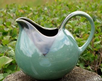 Vintage Asian Pitcher Creamer, Table Top Decor, Vase, Pencil Holder, Collectable Nova Green Sango Stoneware / Pottery China 4935