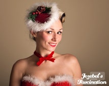 Santa Baby-Ugly Christmas Sweater Fascinator Tacky Cocktail Hat Mrs. Clause Headdress Holiday Holly Pine Cone Burlesque Costume Headpiece
