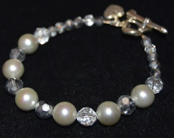 Gray Pearl and Crystal Bracelet, Pearl and Crystal Bracelet, Gray Pearl, Crystal, Pearl Bracelet