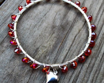 Red Crystal  Bangle, Red Bangle Crystal Bangle, Red Crystal Bangle with Heart, Valentine's Gift