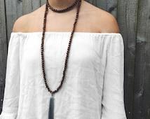 Wooden Beaded Light Blue Tassel Necklace