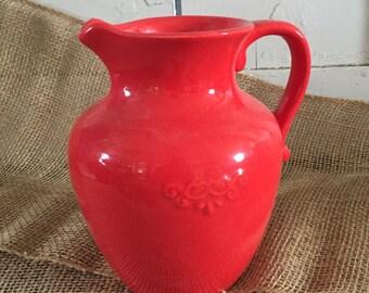 Vintage FTD Red Pitcher / Flower Vase