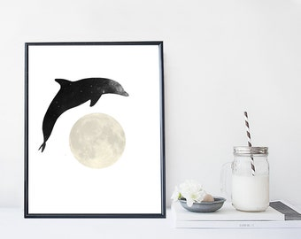 Dolphin art print, dolphin illustration, nautical art print, home wall decor, nature print, galaxy print, apartment decor, nursery decor