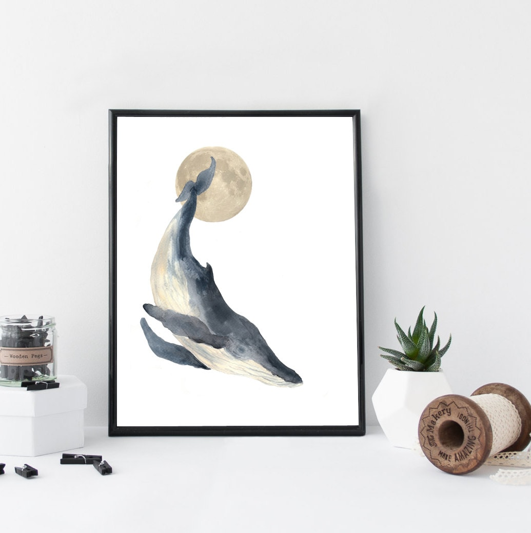 Whale Watercolor Wall Art Art Print Nautical Poster Home