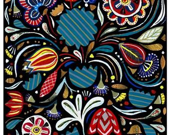 Nighttime Folk Bird - Gina Triplett - Archival Print