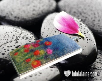 "Handmade Felt Jewelry - Pendant made with felted wool with 32 "" silver chain.  Wearable garden of flowers."