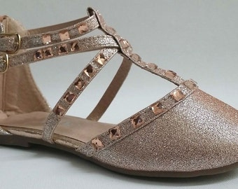 Girls shoes rose gold glitter rhinestone flats Pageant shoes, dance shoes, flower girl shoes. Girls formal shoes. Girls glitter flats shoes.