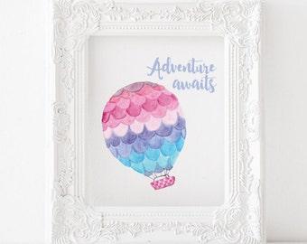 Adventure awaits print, hot air balloon print, adventure awaits printable, hot air balloon printable, nursery printable, nursery print