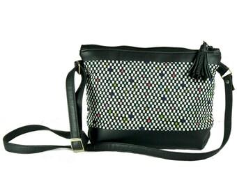 Vegan leather crossbody bag, Small cross body bag, Leather shoulder bag, Everyday bag, Black handbag, crossbody leather bag,Crossbody purse