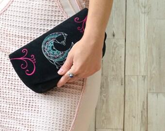 Embroidered fabric clutch, Black clutch purse, Boho clutch bag, Evening clutch embroidered bag, Hippie clutch, Evening purse, Vegan clutch