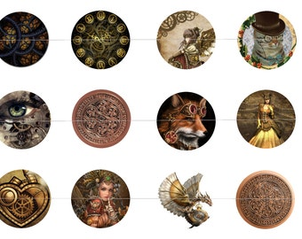 """Steampunk 1"""" Inch Bottle Cap Images Digital Download - 12 images for a 4 x 6 Sheet Size"""