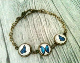 Butterfly bracelet - blue butterfly bracelet - butterfly jewelry - bronze bracelet - glass jewelry - gift idea