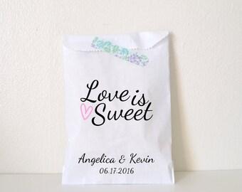 Wedding Favor Bag, Love is Sweet Candy Bag, Favor Bag, Personalized Wedding Favor Bag, Treat Bags, Custom Favor Bags