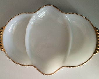 Vintage 1950s Fire-King Oven Ware Milk Glass Divided Dish/Tray with Gilt Decoration