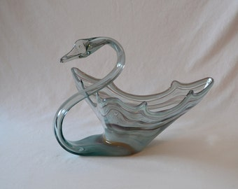 Extra Large Vintage Art Glass Swan Bowl Hand Blown Gray White Bowl Triangle Bowl