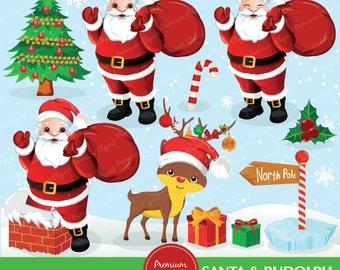 Santa clipart, Rudolph clipart, Christmas clipart, christmas tree clipart, commercial use - CA231