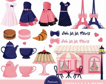 Paris clipart, Paris Girls Clipart, Fashion clip art, Eiffel Tower Clipart, Digital Clipart - CA239