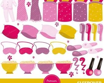 Pajama party clipart, Pajama clipart, Sleepover clipart, Slumber clipart, Sleepover party clipart, digital clipart - CA246