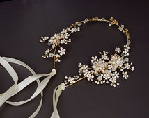 Floral hair vine, wedding headband, bridal headpiece, Wedding halo, Pearl  rhinestone headband, Ribbon, Gold ,Nature inspired