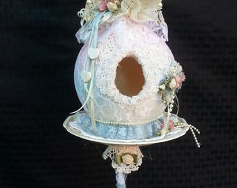 wine glass bird  house pretty Bo ho  in lace