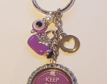 "Purple ""Keep Calm and Go Shopping"" bottlecap keychain"