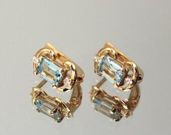 Topaz earrings, Gold earrings, Geometric earrings, 14k gold earrings, Unique earrings, Birthstone earrings Gemstone earrings Pretty earrings