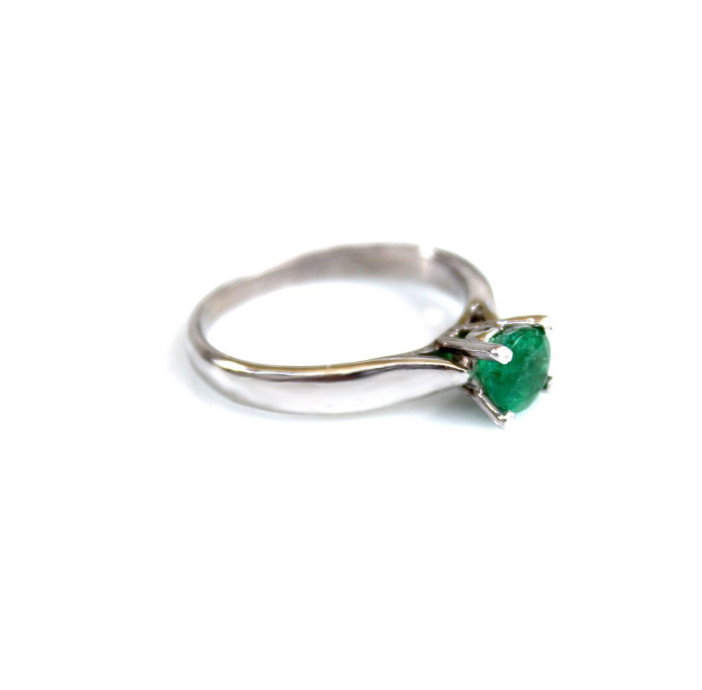 emerald ring solitaire ring promise ring emerald promise