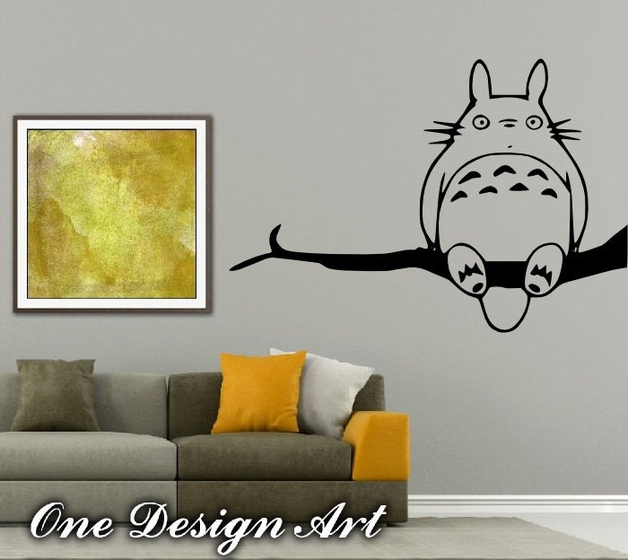 my neighbor totoro on tree branch wall decals anime mural arts