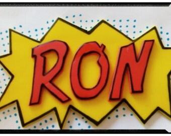Comic Book Marvel Fondant Name Plaque Cake Topper - Superhero Birthday Comic Book Edible Name Cake Topper, Superhero Party Cake Decor!