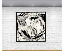 Black and White Art Black and White Wall Art Black and White Abstract Art  Black and White Modern Art Square Art Print