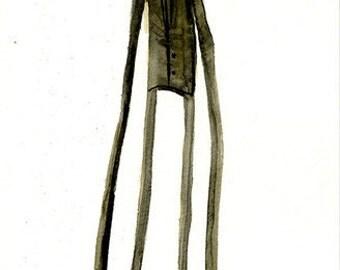 "Dapper Jack 17"" x 5.5"" Signed Halloween Watercolor Art Print by Rhode Montijo"