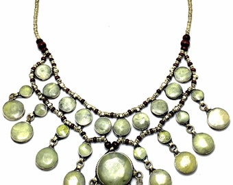 Afghan Jade Statement Necklace - Bride Jewelry - Jade Jewelry - Bib Necklace - Bohemian Jewelry