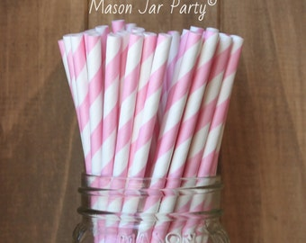 Pink Paper Straws, 25 Pink Stripe Straws, Baby Shower, Wedding, Pink Party Supplies, Cake Pop Sticks,Made in USA, Table Setting, Tableware