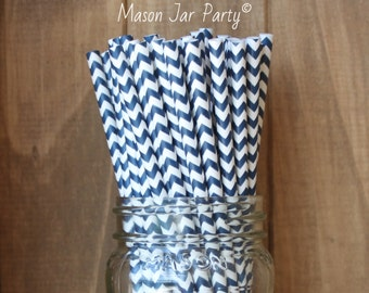 Navy Blue Paper Straws, 25 Navy Blue Straws, Cake Pop Sticks, Navy Party Supplies, Tableware, Wedding Baby Shower Made in USA Table setting