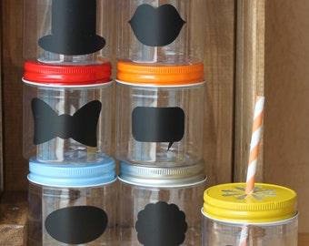 Wedding Plastic Mason Jars, 10 Plastic Mason Jar Cups Wedding Favors 8oz Wedding Tableware Kids Table Party Supplies, Chalkboard Labels, USA