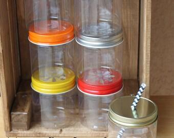 Plastic Mason Jars, 10 Plastic Mason Jar Cups With Straw Lids Solid Lids 8oz Kids Mason Jar Cups Wedding Baby Shower Favors Kids Party Cups