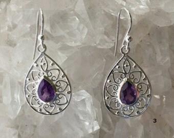 Amethyst Earrings | Choose Victorian or Floral Sterling Setting