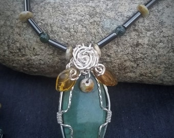 Wire Wrapped Green Adventurine Magnetic Jewelry Set