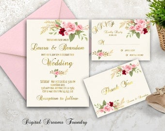 Romantic Spring Wedding Invitation Printable Floral Wedding Invitation Suite Boho Wedding Invitation Gold Blush Pink Rose Wedding Invitation