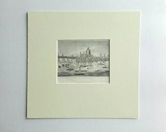 London print antique C1830 cityscape river Thames wall art