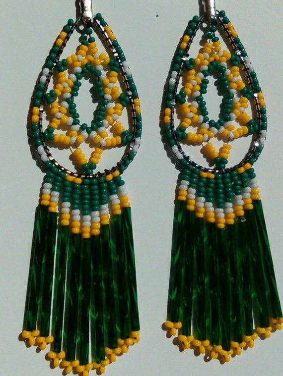 Green Bay Packers or Oakland A's Fans Emerald Green and Yellow Czech Glass Silver Lined Beaded Big Chandelier Earrings.