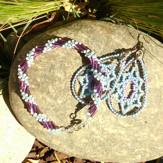 Spiral Beaded Set Twist Bracelet With Purple Sliver lined Czech glass tube beads Light Blue Seed Beads, with Light Blue Seed Bead Earrings